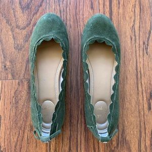 JACK ROGERS Lucie scallop green suede flat shoes